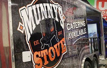 Munny's Stove Food Trailer Full Coverage Wrap by Mighty Wraps