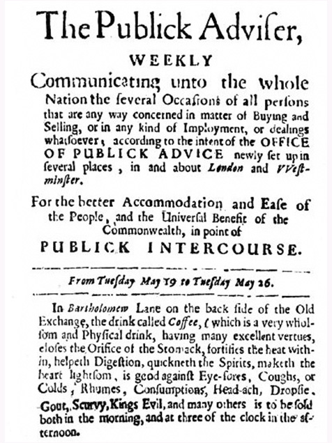 Is print advertising dead? The first advertisement for coffee in London, published in 1657