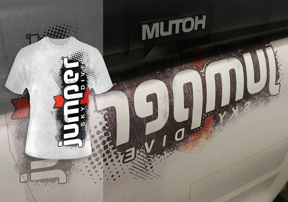 Sublimatable transfer being printed for Jumper Sportswear Sktydiving Tshirts