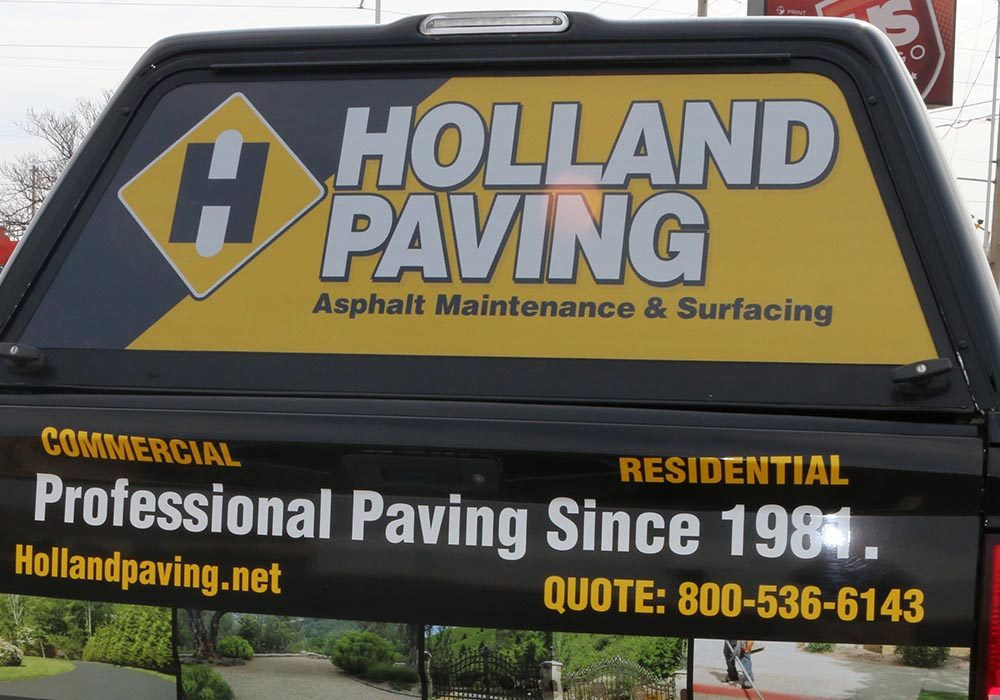Custom Perferated Vinyl Decal for Holland Paving Truck Topper
