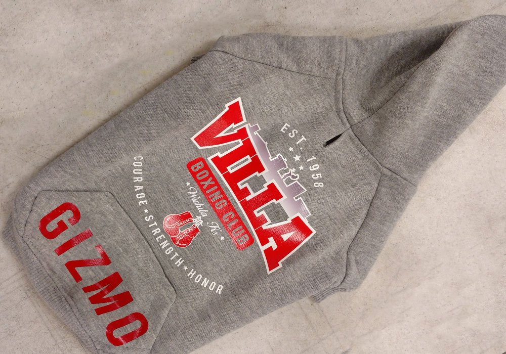 Villa Boxing puppy hoodie with a heat pressed logo