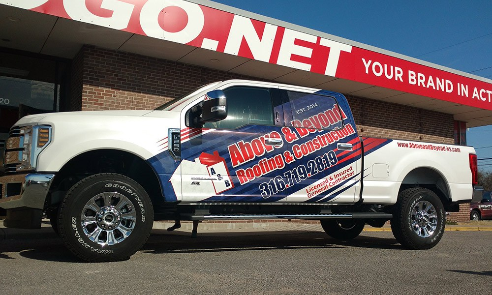Above and Beyond Roofing and Remodeling Partial Truck Wraps