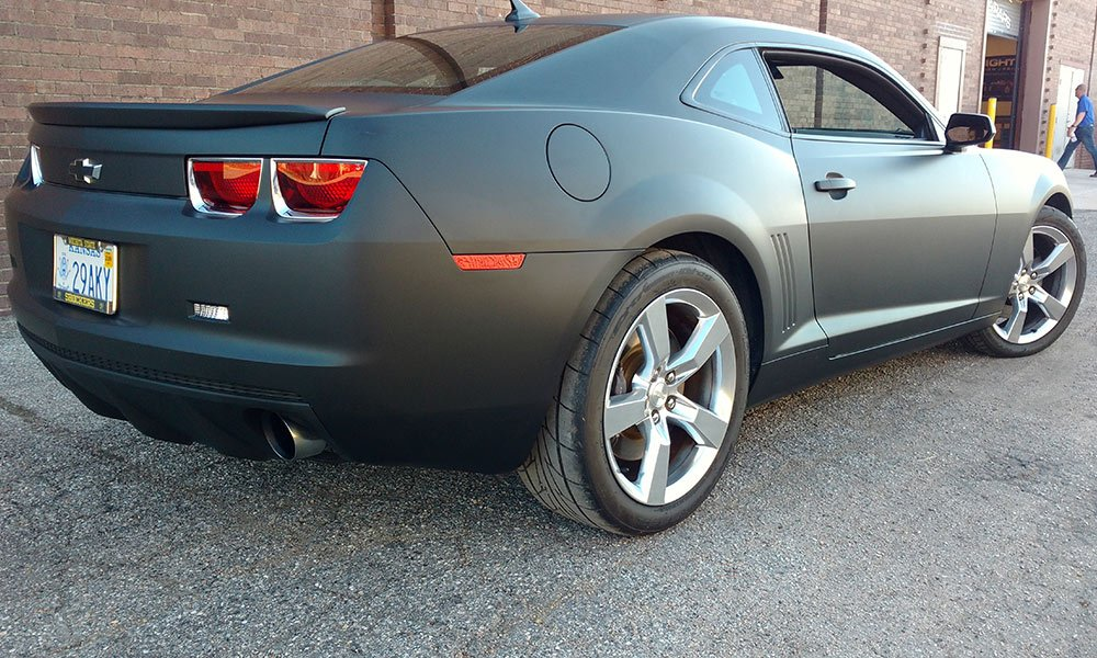 2015 Camaro RS Matte Black Full Coverage Color Change Car Wrap