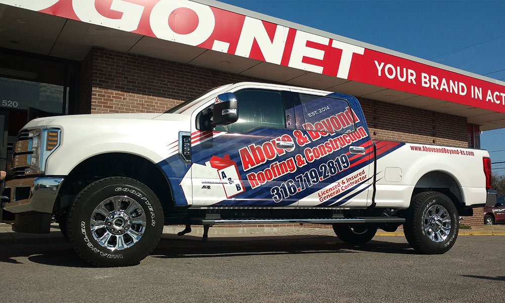 Above and Beyond Roofing and Construction' 2018 Ford F250 Truck Wrap by MightyWraps
