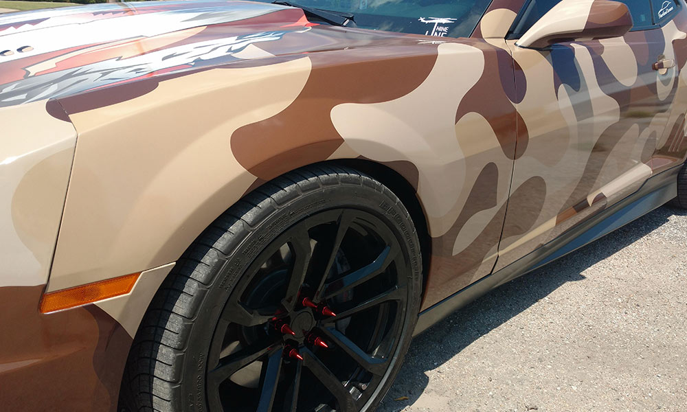 Brown Camo Camaro Full Coverage Car Wrap w/ American Fag Hood Wrap and Roof Wrap