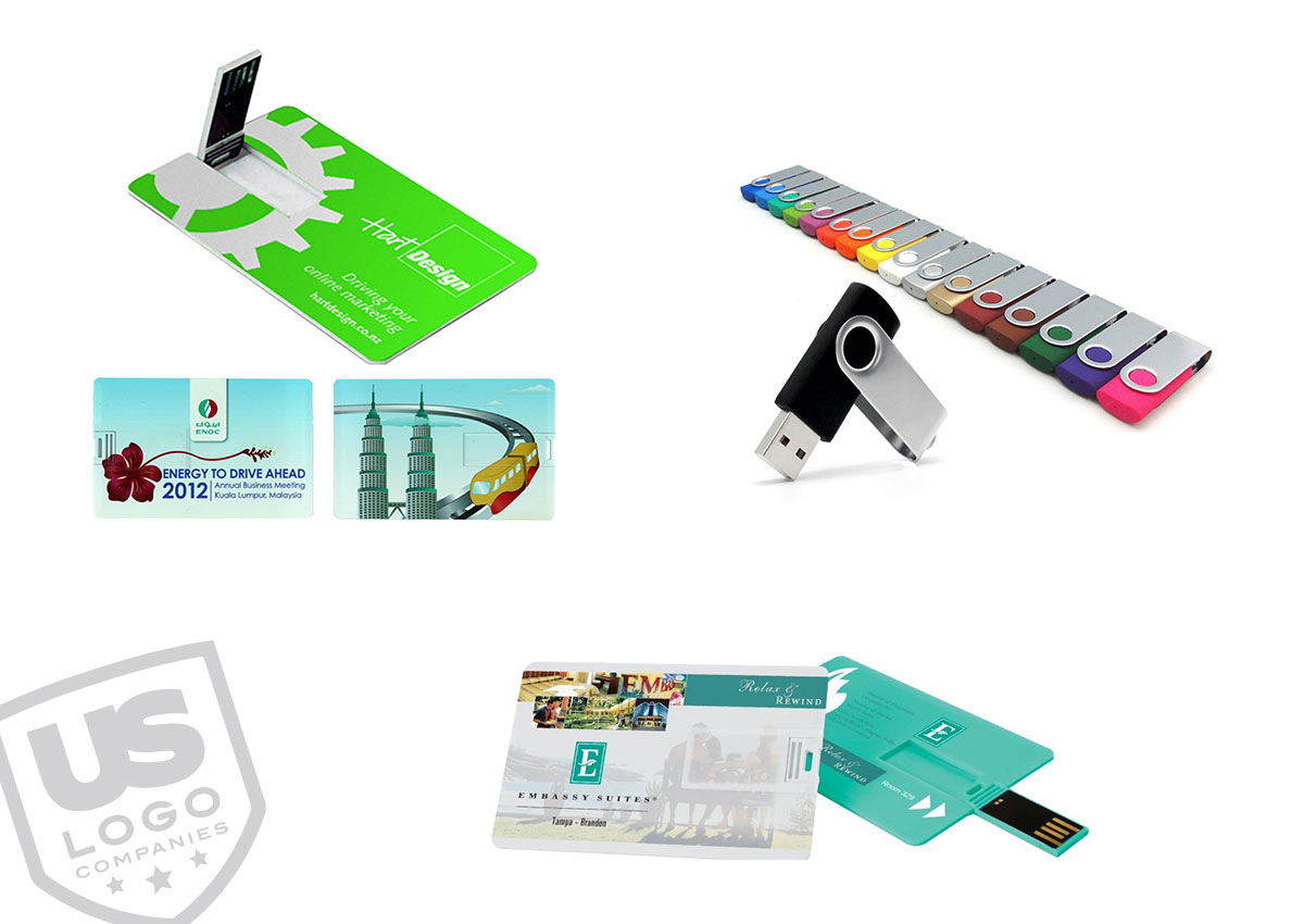 Using promotional products like these 8GB and 16GB thumb drives and credit card drives are sure to carry your brand to the office and to home.