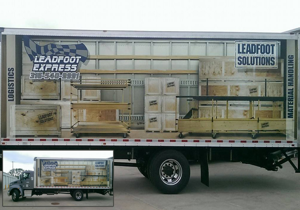 Check out this 3-D box truck wrap that displays the contents that could be inside of the box of the truck.
