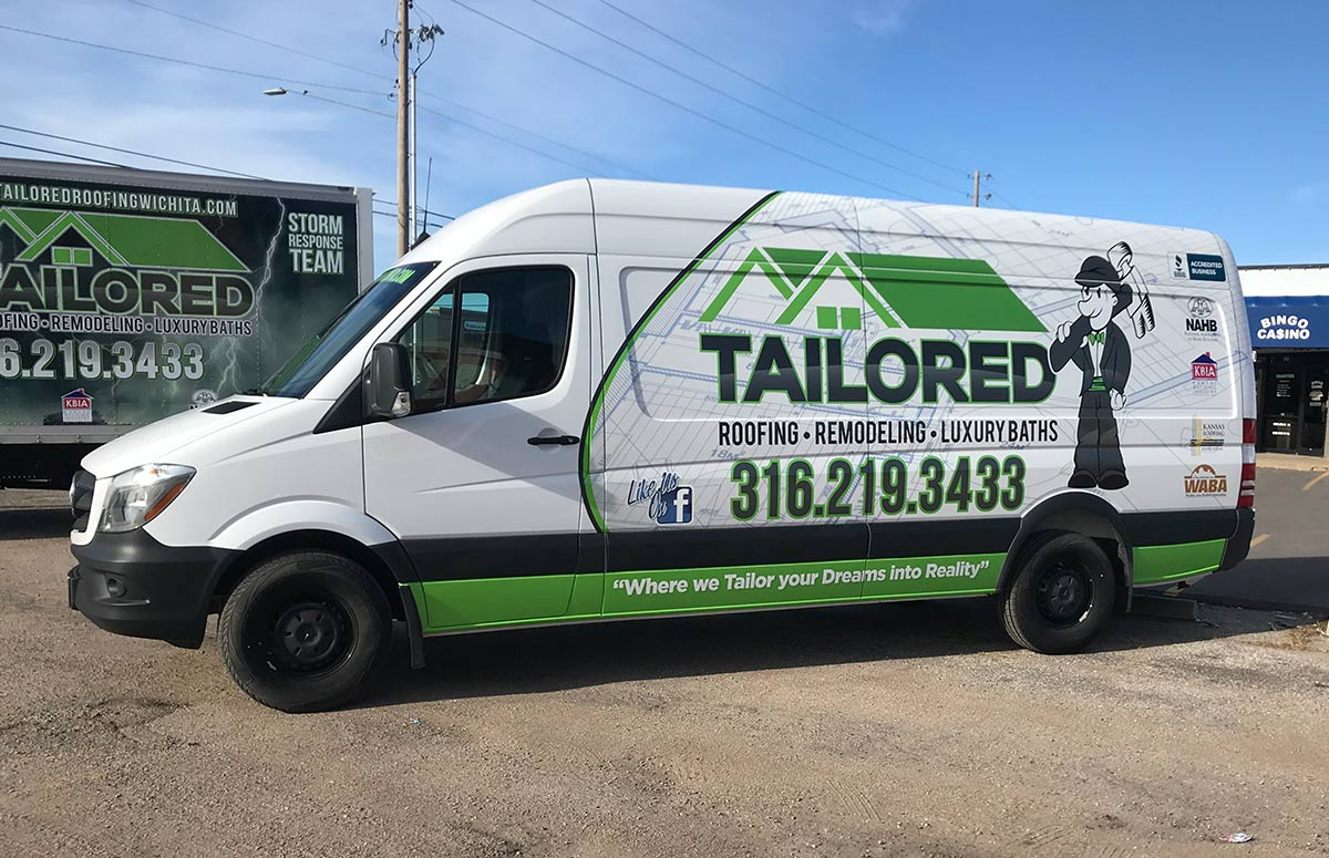 Tailored Roofing Partial Sprinter Van Wrap