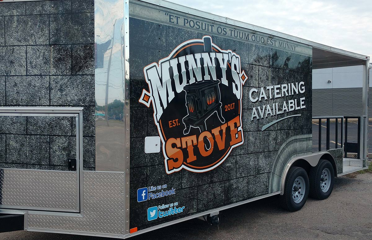 Munny's Stove Food Truck Trailer Wrap Driver Side