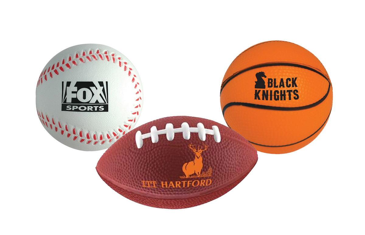 Basketball, baseball, and football-shaped stress balls are fun for kids and adults. So why not advertise your toy company or other kids products.