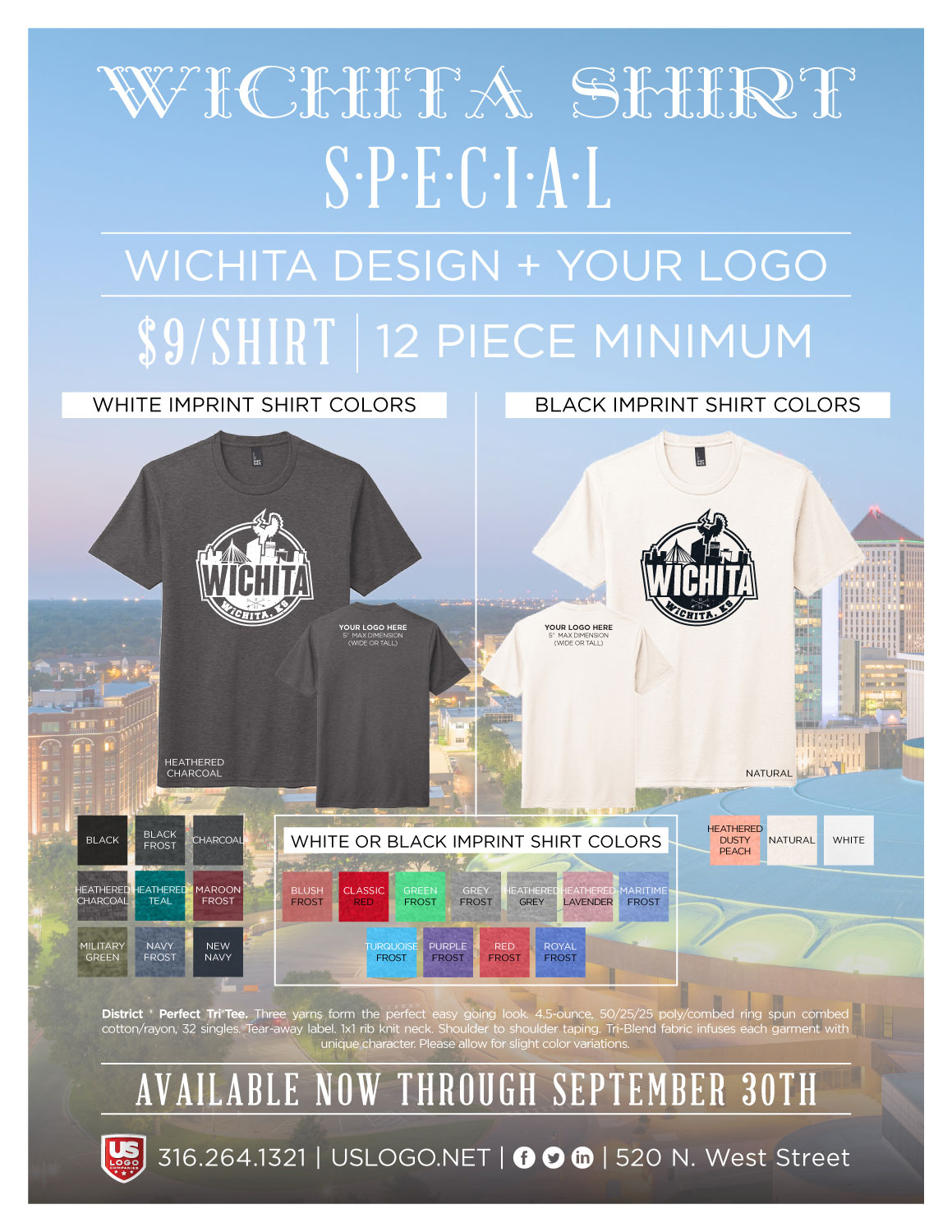 Screen Printed Wichita T-Shirt with your logo on the back