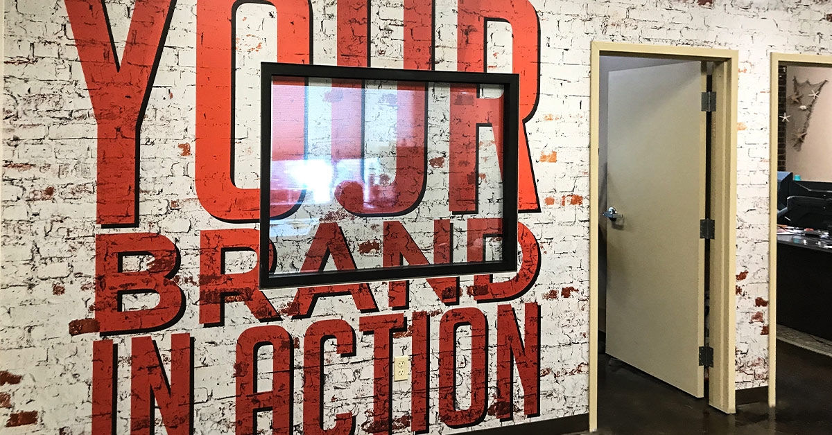Your Brand in Action White Brick Vinyl Wall Graphics