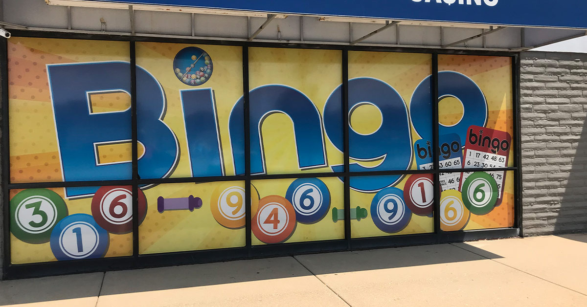 Impress Your Customers with Exterior window wraps for the Bingo Casino on N. West St in Wichita Kansas
