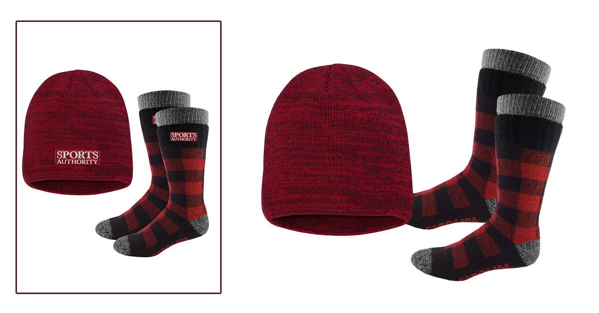 Custom embroidered socks and matching beanie