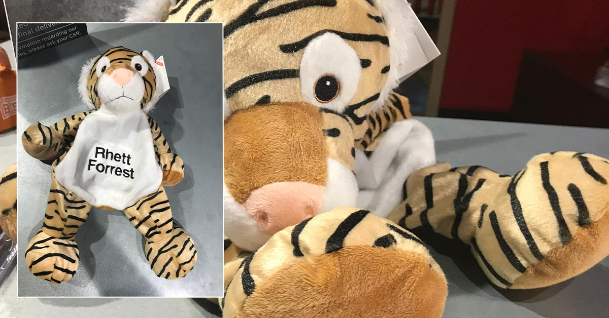 The Best Warm and Fuzzy Giveaways to Raise Brand Awareness - Embroidered Stuffed Animal Tiger