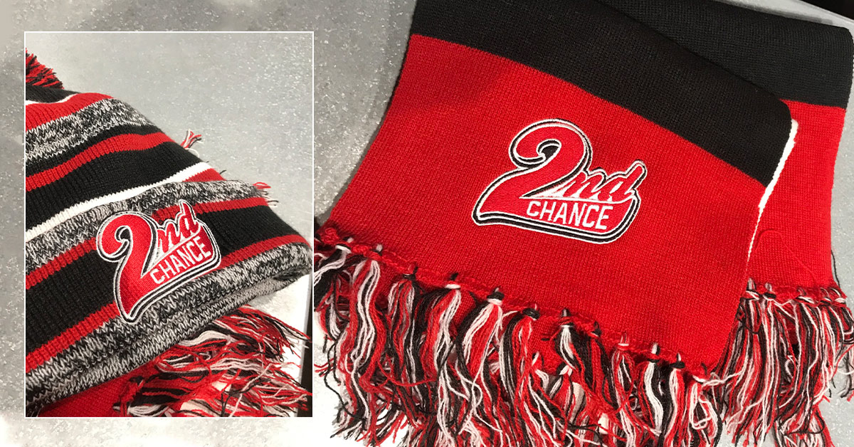 Warm and Fuzzy Giveaways to Raise Brand Awareness - Embroidered beanies and scarfs for Second Chance Wichita KS