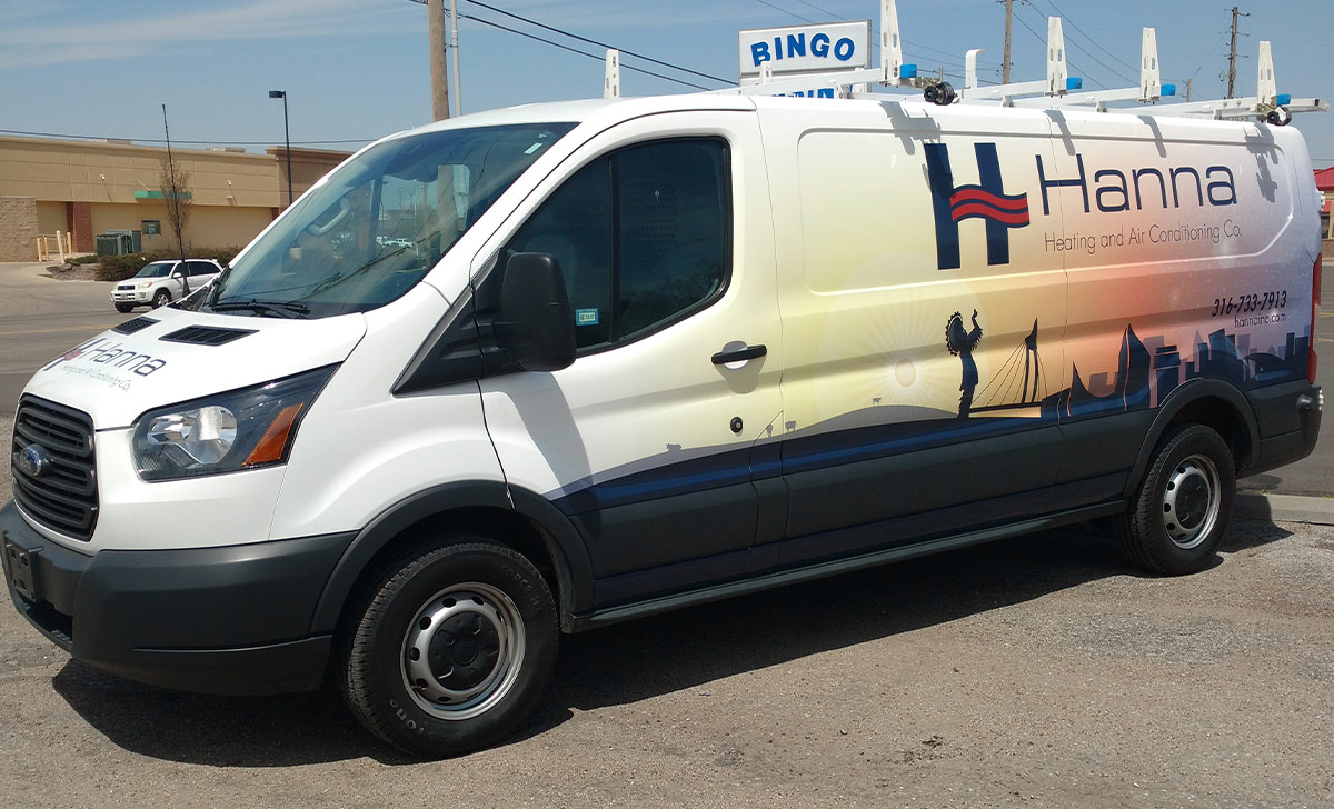 Hanna Heating and Air Conditioning Co - 50 Plus Van Wraps in their Fleet of Vehicles