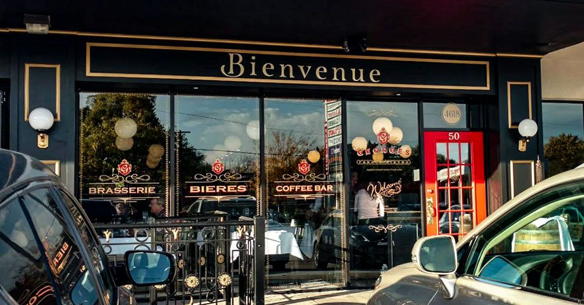 George's French Bistro - Classy Architectural Graphics on Windows, Doors, and Interior Mirrors