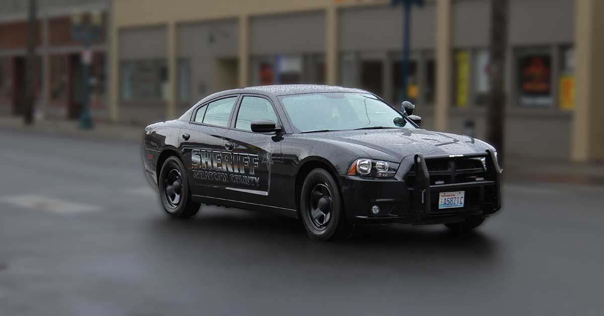 Black stealth graphics on a sheriff patrol car