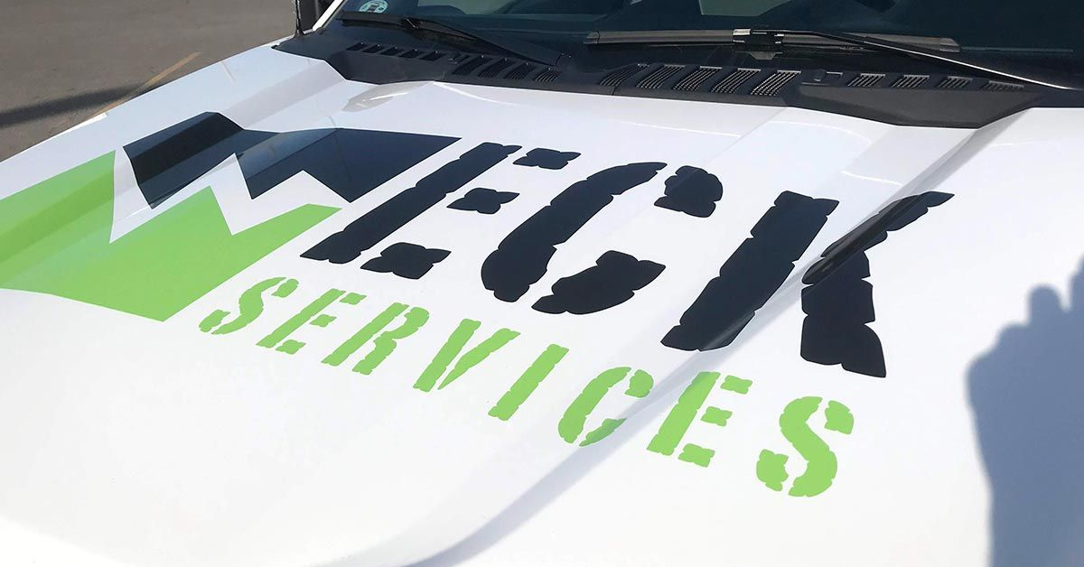 ECK Services Partial Coverage Fleet Truck Wraps Hood View